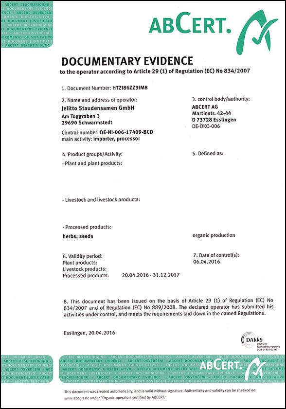 Jelitto Certificate